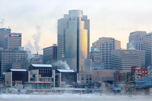 Winter sets in on the buildings in downtown Cincinnati in Ohio
