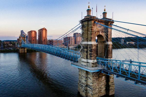 The John A. Roebling Suspension Bridge connects travellers to Cincinnati, Ohio