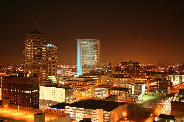 Downtown Columbus by night.