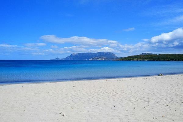 The white sand beach and sapphire waters of Pittulongu, Olbia in Sardinia