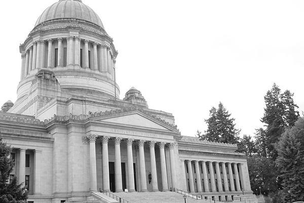The State Capitol Building standing tall on a moody day in Olympia, Washington