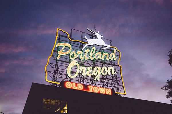 Dusk view of the iconic Portland Oregon Old Town sign