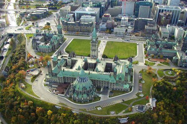 Parliament Hill from a Hot Air Balloon in Ottawa.