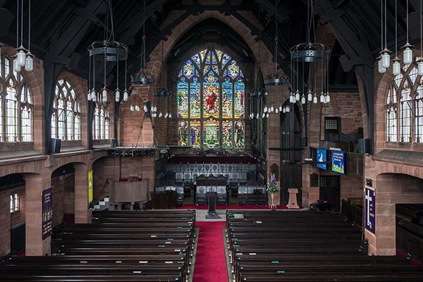 The elaborate interior of St. Matthews Church in Paisley, Scotland