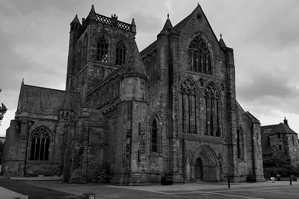 The medieval Paisley Abbey stands grandly in Paisley, Scotland