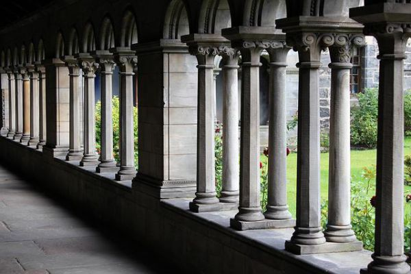 The Cloister Colonnade in the Paisley Abbey of Paisley, Scotland