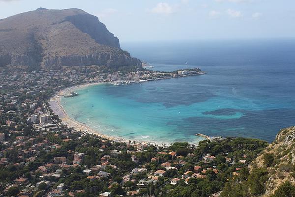 Incredible coastline of Palermo, Sicily in the Mediterranean, Italy