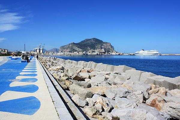 A stunning day on the Palermo Waterfront in Sicily, Italy