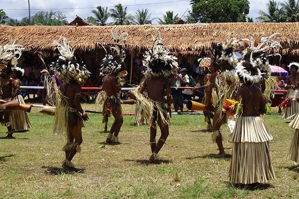 Tribal dancers perform a dance in Papua New Guinea
