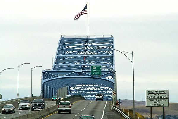 Motorists cross over the Pasco Blue Bridge in Pasco, Washington