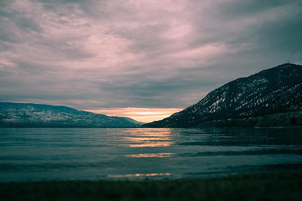 Sunset over Lake Okanagan in Penticton, British Columbia, Canada