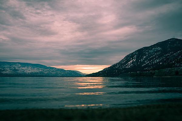 Sunset over Lake Okanagan in Penticton, British Columbia, Canada