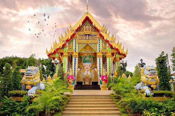 An ornate and colourful place of worship in Phitsanulok, Thailand