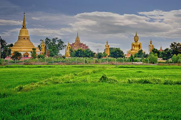 A place of statues, temples and pagodas in Phitsanulok, Thailand