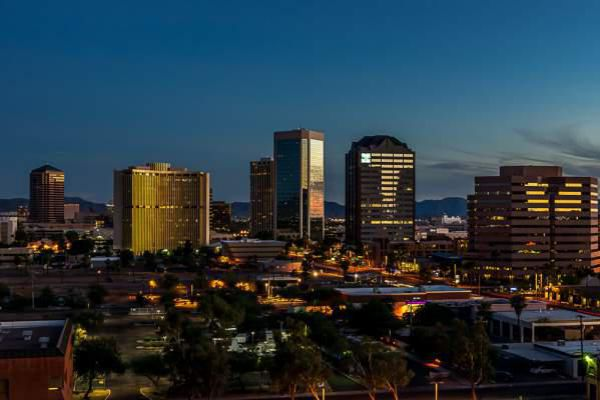 Phoenix skyline by night.