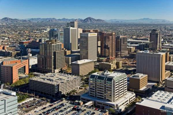 City skyline of Downtown Phoenix.