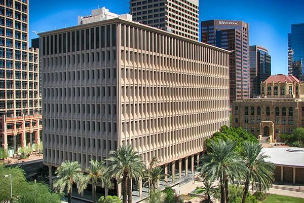 The sun shines brightly on the Phoenix Arizona city skyline