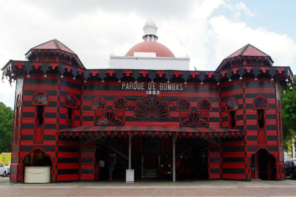 The Parque de Bombas is Ponce's boisterously coloured fire station.