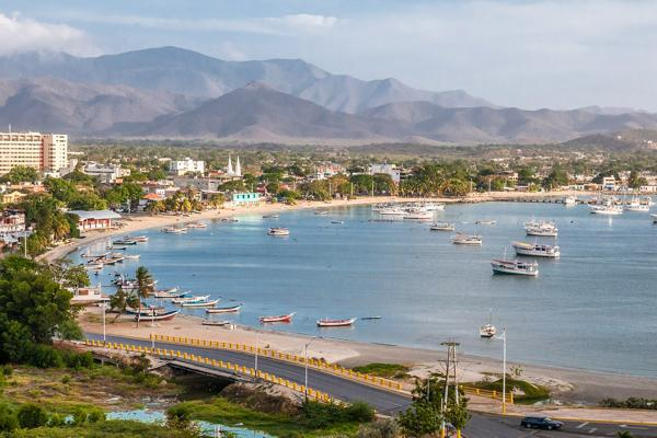Boats take shelter in the tranquil harbour of Juan Griego on Margarita Island, Venezuela