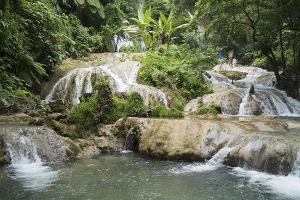 Lush tropical greenery surrounds the Mele Cascades in Port Vila, Vanuatu