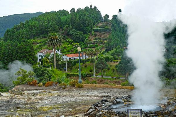 A thermal area in the tropics of Ponta Delgada on Sao Miguel Island, Portugal (Azores)
