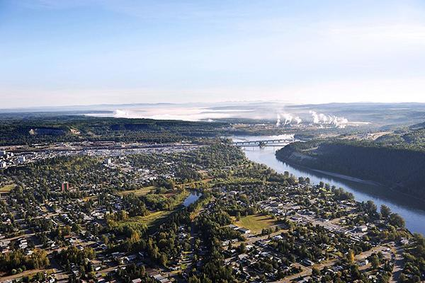 An aerial view of Prince George, British Columbia, Canada