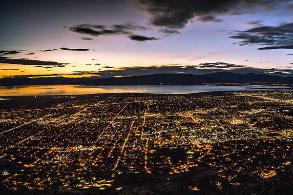 Aerial view of the city lights of Provo, Utah at dusk