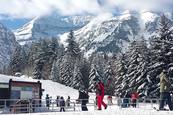 Skiers prepare to go up the mountain at Sundance Ski Lodge in Provo, Utah