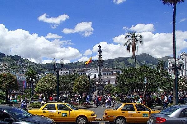 The independence square is the principal and central public square of Quito, Ecuador.