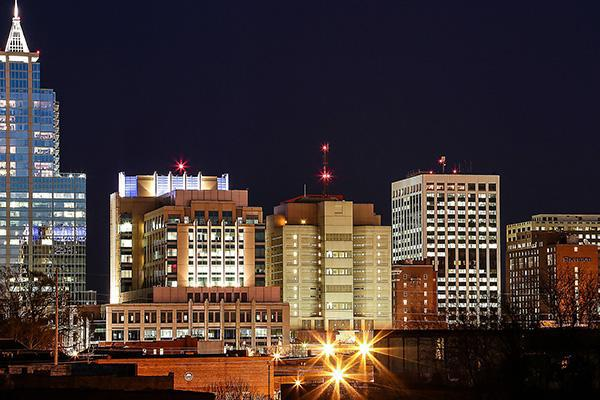 The city lights of North Carolina's capital city, Raleigh