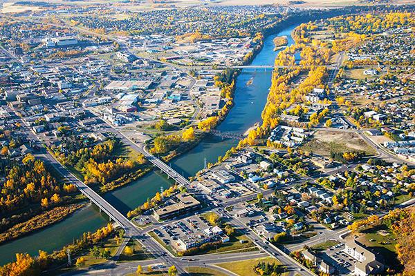 Aerial view of Red Deer, Alberta in autumn