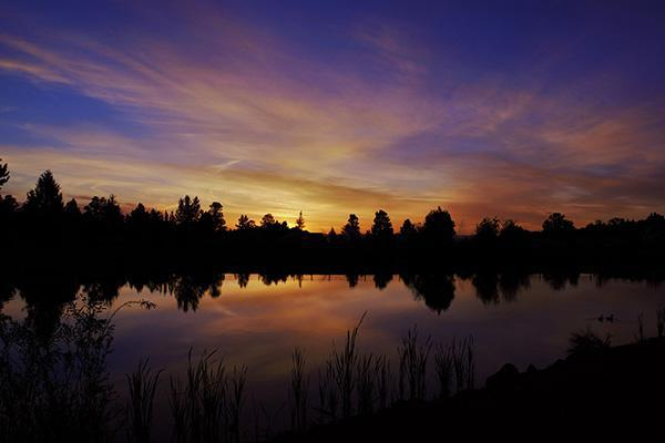 A stunning sunset paints the tree-lined sky at the Eagle Crest Resort in Redmond, Oregon
