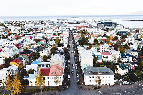 An aerial view of the colourful houses of Reykjavík, Iceland