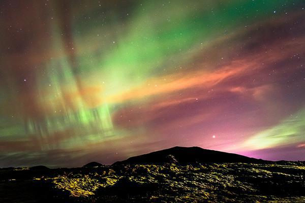 The famed Northern Lights of Reykjavík, Iceland