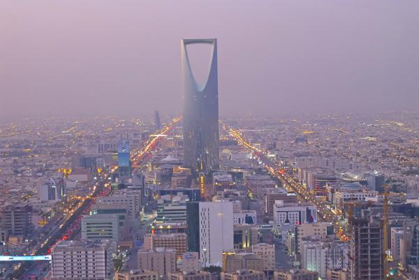 Riyadh's Kingdom Centre rises far above the city