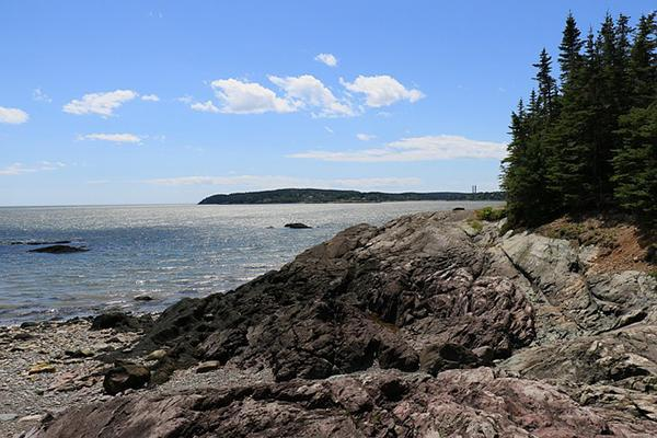 A rocky coastline on the Bay of Fundy in Irving Nature Park, Saint John, New Brunswick