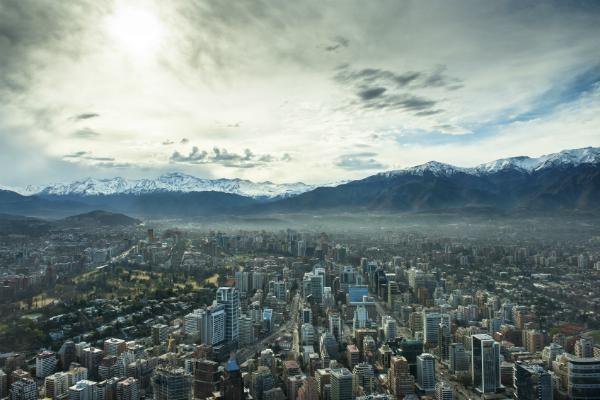 Santiago overlooked by the mountains
