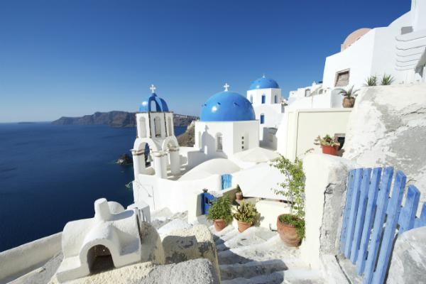 Blue and white dominate the breathtaking Santorini views