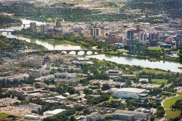 Overlooking the University of Saskachewan and downtown Saskatoon.