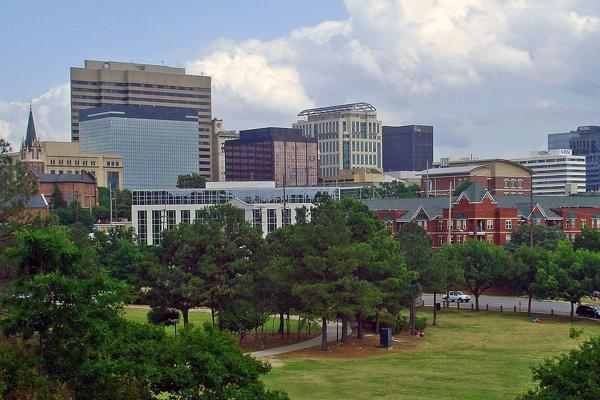 A beautiful mix of buildings and greenery in downtown Columbia, South Carolina