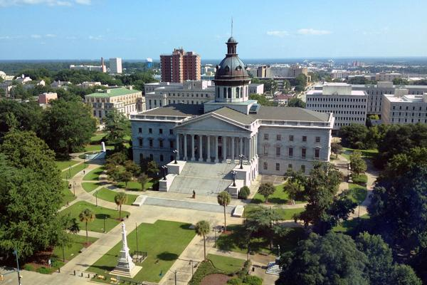 Blue skies shine on the South Carolina State House in Columbia, South Carolina