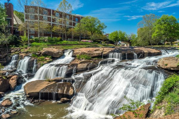 Water flows over the rocks at Falls Park on the Reedy in Greenville, South Carolina