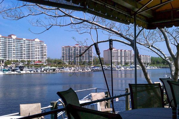Hotels look out onto the peaceful canal waters in Myrtle Beach, South Carolina