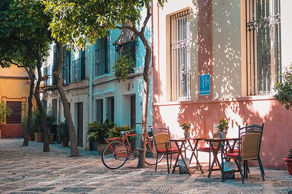 A colourful, charming street of Seville, Spain