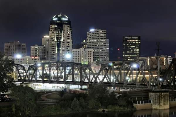 Downtown Shreveport by night.