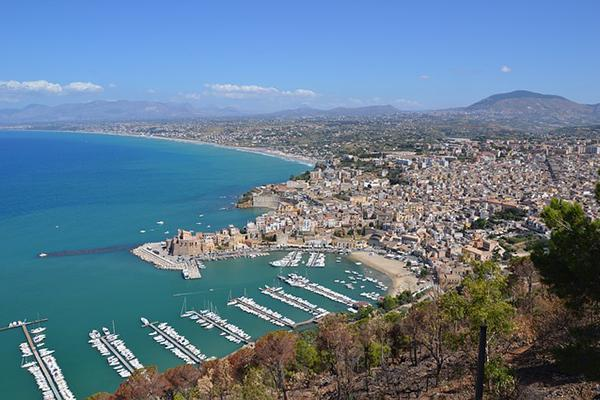 An aerial view of the incredible Mediterranean coast of Trapani, Sicily in Italy