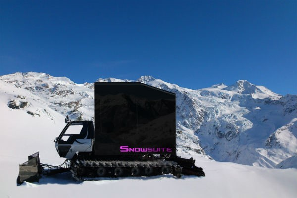 Snowsuite on snow covered mountains