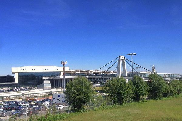 View of Milan-Malpensa Airport on a clear-sky day in Italy