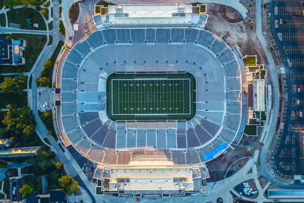 An aerial view of the University of Notre Dame football stadium in South Bend, Indiana