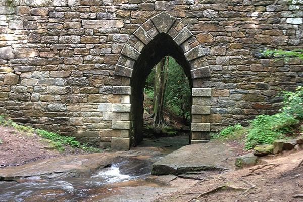 A sight of water and greenery at the Poinsett Bridge in Greenville, South Carolina